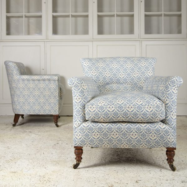 Howard and Son's matching chairs light blue and cream patternn