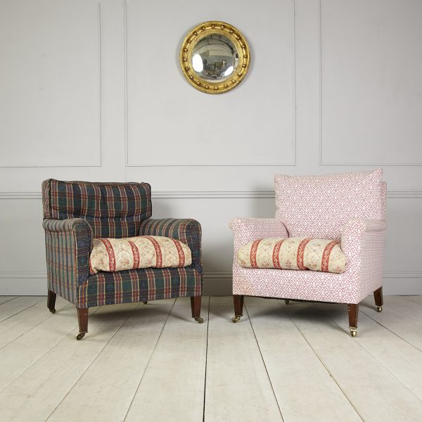 Howard and Sons chequered and patterned chairs