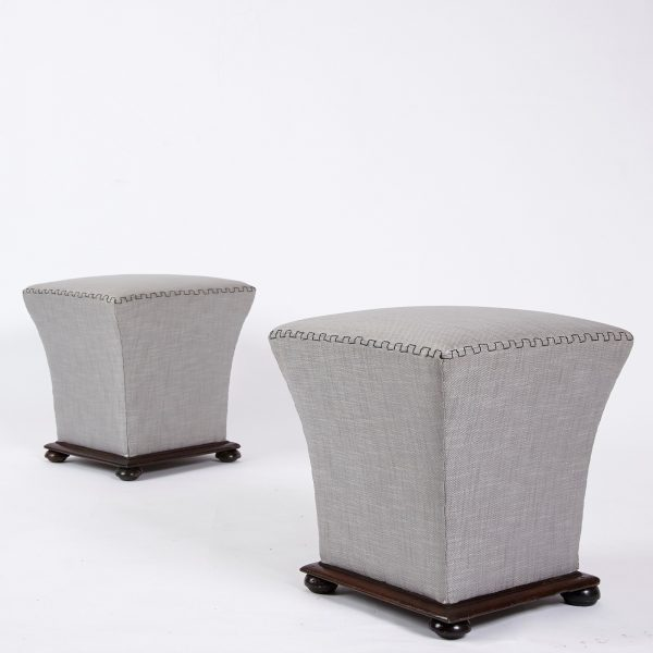 Pair of upholstered stools 7 at an angle